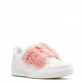 Λευκά Sneakers με Ροζ Γούνα και Τρουκς