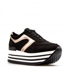 Μαύρα Flatform Sneakers με Χάλκινη Λεπτομέρεια