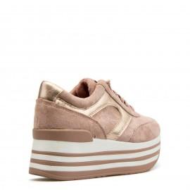 Ροζ Flatform Sneakers με Χρυσή Λεπτομέρεια