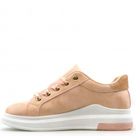 Nude Sneakers με Glitter και Σατέν Κορδόνια
