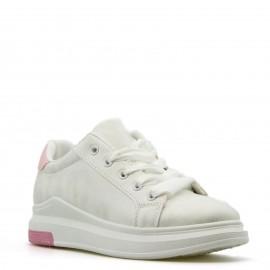 Λευκά Sneakers με Ροζ Λεπτομέρεια και Σατέν Κορδόνια