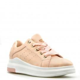 Nude Sneakers με Glitter και Σατέν Κορδόνια