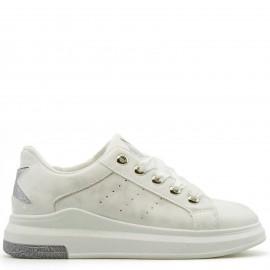 Λευκά Sneakers με Glitter και Σατέν κορδόνια