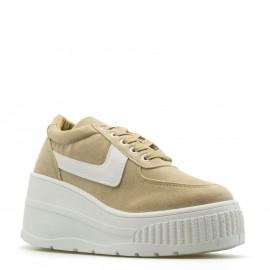 Μπεζ Flatform Sneakers με Λευκή Σόλα