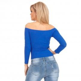 Μπλε Πλισέ Off - Shoulder Κορμάκι