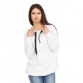 Λευκό Hoodie με Διακοσμητικό Φερμουάρ
