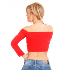 Κόκκινο Off - Shoulder Crop Top