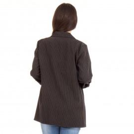 Μαύρο Σακάκι με Λευκή Ρίγα και Διακοσμητική Πέρλα