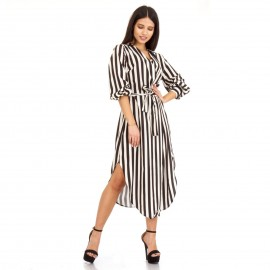 Ριγέ Midi Φόρεμα