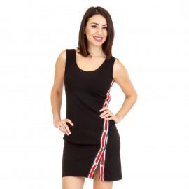 Μαύρο Mini Φόρεμα με Ρίγες και Κουμπιά στο Πλάι