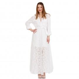 Λευκό Maxi Φόρεμα με Δαντέλα