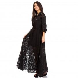 Μαύρο Maxi Φόρεμα με Δαντέλα