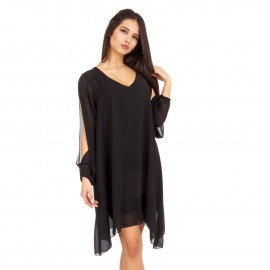 Μαύρο Ασύμμετρο Mini Φόρεμα με C - Throu Λεπτομέρειες