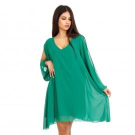 Πράσινο Ασύμμετρο Mini Φόρεμα με C - Throu Λεπτομέρειες