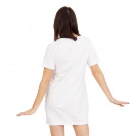 Λευκό Mini Φόρεμα με Στάμπα