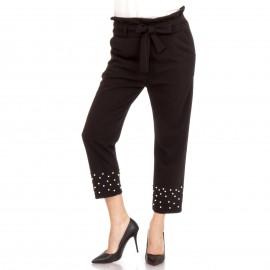 Μαύρο Παντελόνι με Ζωνάκι και Πέρλες