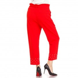 Κόκκινο Παντελόνι με Ζωνάκι και Πέρλες