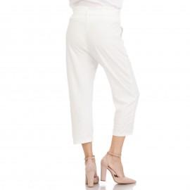 Λευκό Παντελόνι με Ζωνάκι και Πέρλες