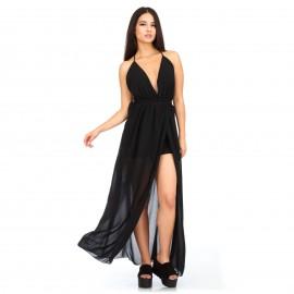 Μαύρο Maxi Φόρεμα με Ανοιχτή Πλατη