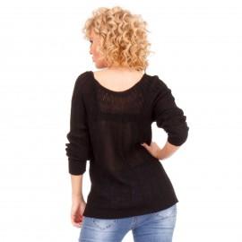 Μαύρη Τρυπητή Μπλούζα με Λεπτή Πλέξη