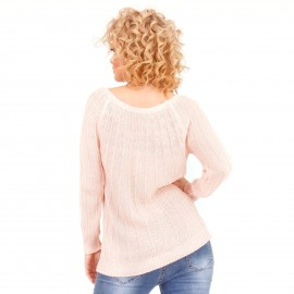 Ρόζ Τρυπητή Μπλούζα με Λεπτή Πλέξη