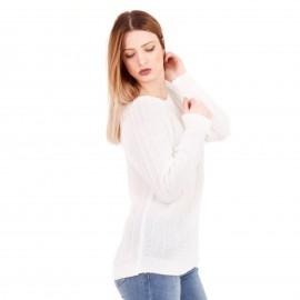 Λευκή Τρυπητή Μπλούζα με Λεπτή Πλέξη