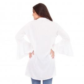 Λευκό Oversized Πουκάμισο με Μανίκια τύπου Νυχτερίδα