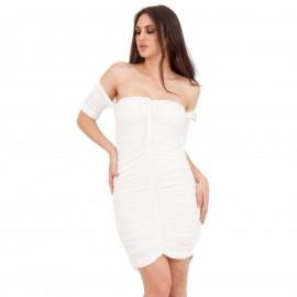 Λευκό Off - Shoulder Mini Φόρεμα με Σούρες