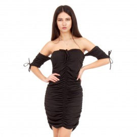 Μαύρο Off - Shoulder Mini Φόρεμα με Σούρες