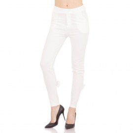 Λευκό Παντελόνι με Φερμουάρ και Φιόγκο