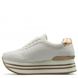 Λευκά Δίπατα Sneakers με Χάλκινη Λεπτομέρεια