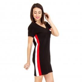 Μαύρο Mini Φόρεμα με Ρίγα και Τσεπάκι