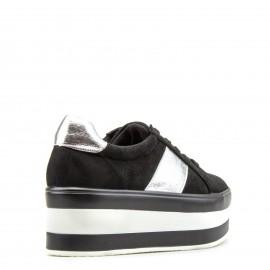 Μαύρα Δίπατα Sneakers με Ασημένια Λεπτομέρεια