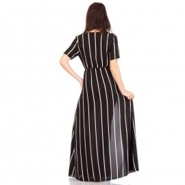 Μαύρο Ριγέ Maxi Φόρεμα