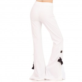 Λευκό Παντελόνι με Φιόγκο στο Πλάι
