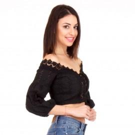 Μαύρο Off - Shoulder Crop Top με Δαντέλα Κιπούρ