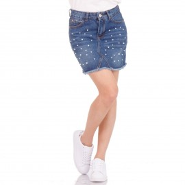 Τζιν Mini Φούστα με Πέρλες