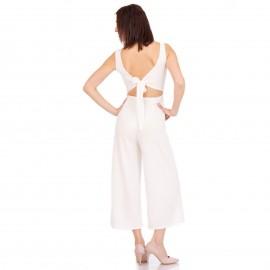 Λευκή Ολόσωμη Φόρμα Ζιπ Κιλότ με Κουμπιά