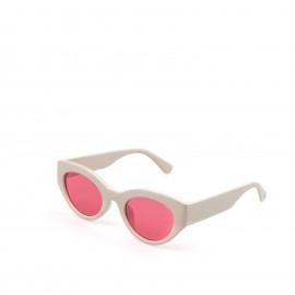Γυαλιά Ηλίου Λευκά με Ρόζ Φακό