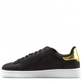 Μαύρα Sneakers με Χρυσή Λεπτομέρεια