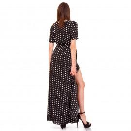 Μαύρο Πουά Maxi Φόρεμα με Σκίσιμο στο Πλάι
