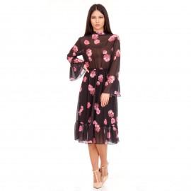 Μαύρο Φλοράλ Midi Φόρεμα