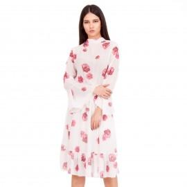 Λευκό Φλοράλ Midi Φόρεμα