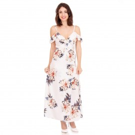 Λευκό Φλοράλ Off - Shoulder Maxi Φόρεμα