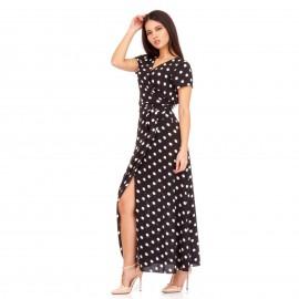 Μαύρο Πουά Maxi Φόρεμα με Άνοιγμα στο Πλάϊ