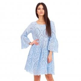 Σιέλ Mini Φόρεμα με Δαντέλα Κιπούρ