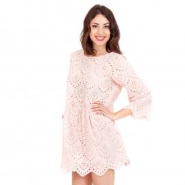 Ρόζ Mini Φόρεμα με Δαντέλα Κιπούρ