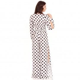 Λευκή Πουά Αμάνικη Ολόσωμη Φόρμα με Σκισίματα