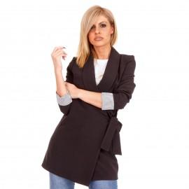 Μαύρο Oversized Σακάκι με Ζωνάκι