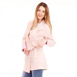 Ρόζ Oversized Σακάκι με Ζωνάκι